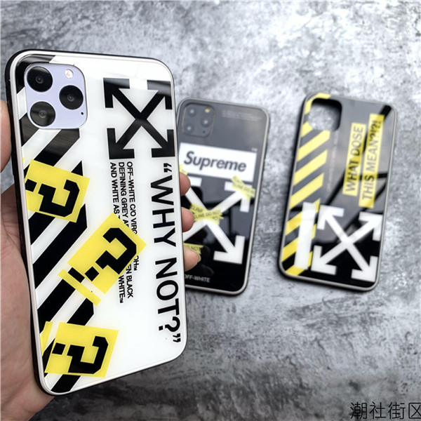 supreme offwhite iphone11/iphone11proケース ガラス メンズ